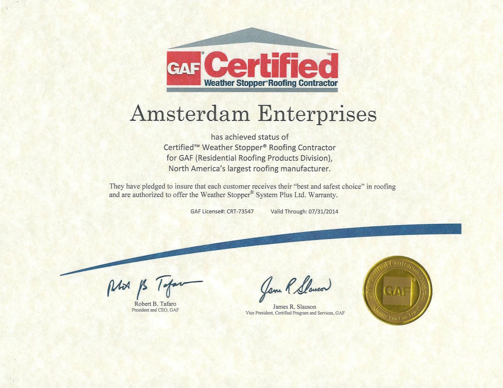 GAF-Certificate-Weather-Stopper-Roofing-Contractor