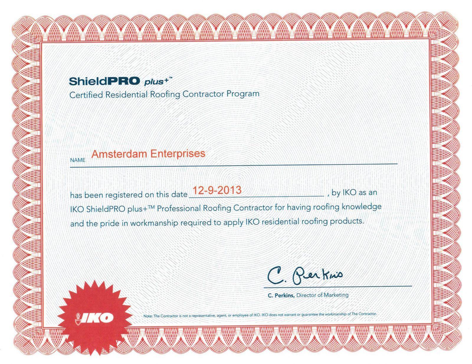 IKO-Shield-PRO-Certificate